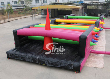 16x6m Crazy Tangled Up Adult Inflatable Obstacle Course สำหรับกีฬากลางแจ้ง